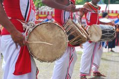 Sri Lankan drummers in Wesak festival Royalty Free Stock Image