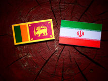 Sri Lankan flag with Iranian flag on a tree stump isolated Royalty Free Stock Image