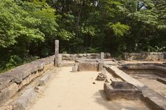 Sri lankan forest monastry ruins. At ritigala in minnerya national park with trees on an archaeological site Stock Image