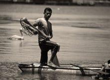Sri Lankan Kanufischer, der Zuschauer betrachtet Stockbilder