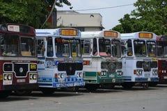 Sri Lankan Kleurrijk Leyland Busses Royalty-vrije Stock Foto's