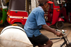 Sri Lankan Mann auf Fahrrad Stockbild