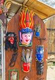Sri Lankan masks. The handmade wooden masks on the door of souvenir stall in Galle Fort, Sri Lanka Stock Image