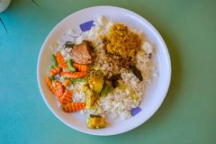 Sri lankan rice and curry dish. Sri lankan rice and curry Stock Photography