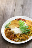 Sri lankan rice and curry dish. Rice and curry, sri lankan cuisine Royalty Free Stock Photos