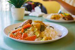 Sri lankan rice and curry dish. Sri lankan rice and curry royalty free stock photos