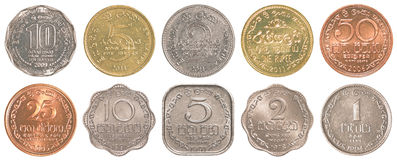 Sri lankan rupee coins collection set Stock Image