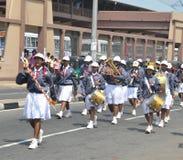 Sri Lankan school children marching in Hikkaduwa Royalty Free Stock Photography