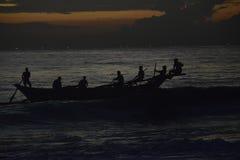 Sri Lankan  Silhouetted Fisherman Stock Images