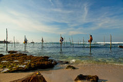 Sri Lankan traditional fisherman on stick in the Indian ocean Royalty Free Stock Images