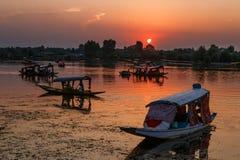 SRI NAGAR, KASHMIR, INDIA - 11 AGOSTO 2018: Shi locale di molte barche fotografia stock libera da diritti