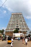 Sri Ranganathaswamy temple entrance with people, Trichy, India Stock Image