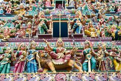 Sri Veerama Kaliamman寺庙,新加坡雕象  库存图片