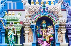 Sri Veeramakaliamman temple. SINGAPORE - FEB 24 : Statues in Sri Veeramakaliamman temple in Little India, Singapore on February 24 2018 It is one of the oldest Royalty Free Stock Photography