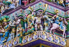 Sri Veeramakaliamman temple. SINGAPORE - FEB 24 : Statues in Sri Veeramakaliamman temple in Little India, Singapore on February 24 2018 It is one of the oldest Stock Photography