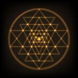 Sri Yantra - simbolo del formato di da nove triangoli di collegamento che si irradiano fuori dal punto centrale La geometria sacr Immagini Stock