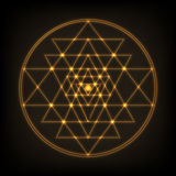 Sri Yantra - symbol of formed by nine interlocking triangles that radiate out from the central point. Sacred geometry. Sri Yantra - symbol of Hindu tantra Stock Images