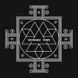 Sri Yantra - symbol of Hindu tantra formed by interlocking triangles that radiate out from the central point. Sacred geometry. Vector illustration of mystical Stock Images