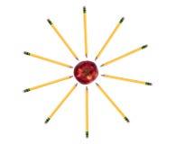 Série da instrução (lápis em torno da maçã) Imagem de Stock
