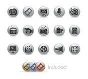 Série de bouton en métal de // de multimédia Photographie stock