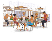 Série de café bebendo dos povos da forma Imagem de Stock
