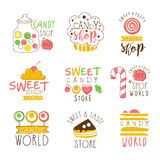Série de signes de promo de boutique de sucrerie de calibres colorés de conception de vecteur avec des bonbons et des silhouettes Images stock
