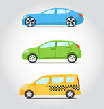 Série do ícone dos carros Estilo liso das cores Sedan ou supercarro, hatchbac Foto de Stock Royalty Free