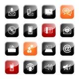 Série lustrosa ajustada do ícone de uma comunicação Foto de Stock