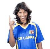 SriLanka Cricket girl on white Stock Image