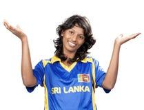 SriLanka Cricket girl on white Royalty Free Stock Photo