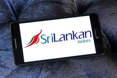 SriLankan Airlines logo. Logo of SriLankan Airlines on samsung mobile. SriLankan Airlines is the flag carrier of Sri Lanka and a member of the oneworld alliance stock image
