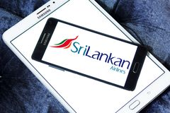 SriLankan Airlines logo. Logo of SriLankan Airlines on samsung mobile. SriLankan Airlines is the flag carrier of Sri Lanka and a member of the oneworld alliance royalty free stock images