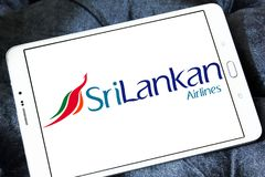 SriLankan Airlines logo. Logo of SriLankan Airlines on samsung tablet . SriLankan Airlines is the flag carrier of Sri Lanka and a member of the oneworld alliance stock photos