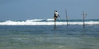 Srilankan fisherman sitting on stick of wood royalty free stock images