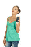 Srilankan girl holding mobile phone front Royalty Free Stock Image