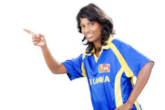 Srilankan girl point up Royalty Free Stock Photography