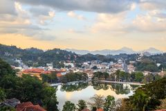 Srilankan Kandy city panorama with lake in the foreground, Central province, Sri Lanka. Architecture asia asian blue buddhism buddhist building ceylon country stock images