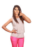 Srilankan model calling posse Royalty Free Stock Images