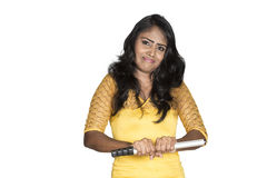 Srilankan model holding stick Stock Images