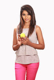 Srilankan teenager holding ball studio white background Stock Photography