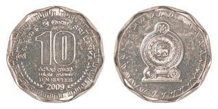 Srilankesiskt mynt för rupie 10 Arkivfoton