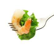 Srimp e salada Fotografia de Stock Royalty Free