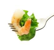 Srimp y ensalada Fotografía de archivo libre de regalías