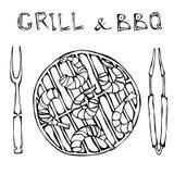 Srimpes Kebab σε μια BBQ σχάρα με τις λαβίδες και το δίκρανο Θερινό κόμμα σχαρών θαλασσινών Prewen στη σχάρα Ρεαλιστικό συρμένο χ διανυσματική απεικόνιση