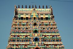 Srimushnam - Colourful Temple Tower royalty free stock photography