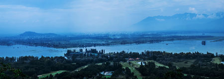 Srinagar Bird's eye view Royalty Free Stock Photo