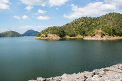 Srinagarind Dam. The Srinagarind Dam is an embankment dam on the Khwae Yai river in Si Sawat District of Kanchanaburi Province, Thailand Stock Image