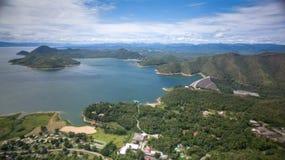 Srinagarind Dam in Kanchanaburi, Thailand. Aerial view of Srinagarind Dam in Kanchanaburi, Thailand Stock Images