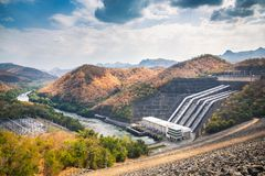 Srinagarind Dam, the power station on the Khwae Yai Stock Image