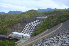Srinagarind Hydroelectricity Dam building below water level Royalty Free Stock Images